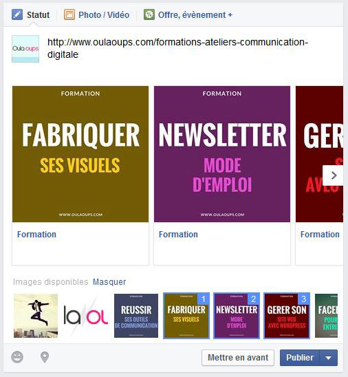 tutoriel comment mettre en place un carrousel facebook