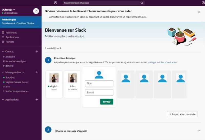 Présentation de l'interface Slack